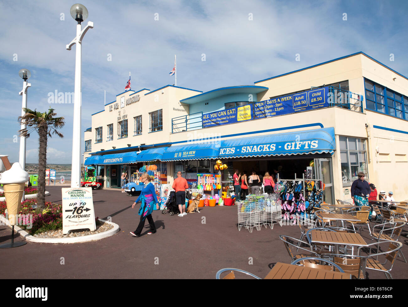 The Pier Bandstand amusements on the seafront at Weymouth, Dorset, England - Stock Image