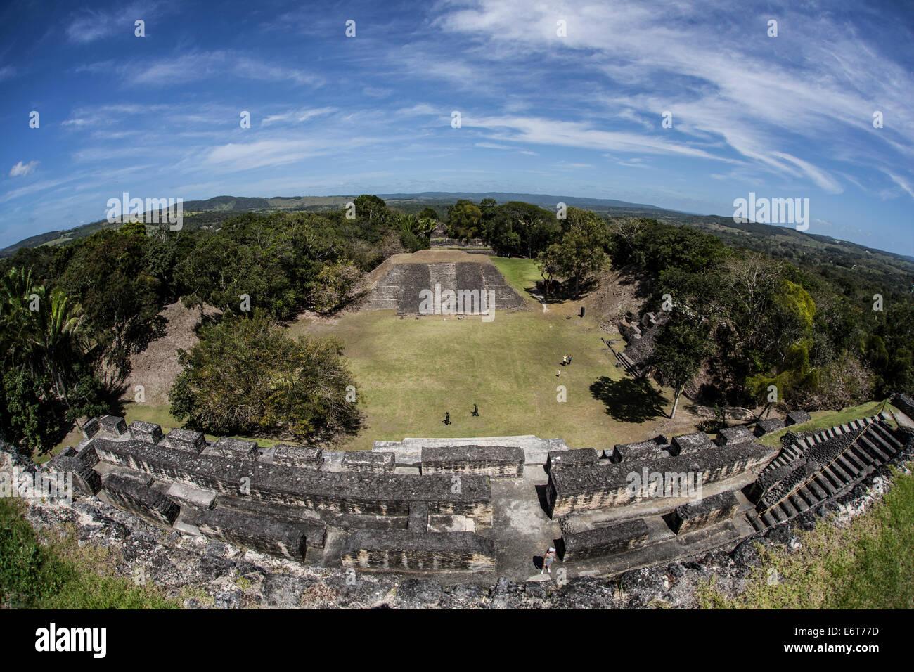 View of El Castillo Pyramid to Maya Ruins of Xunantunich, Caribbean, Belize - Stock Image