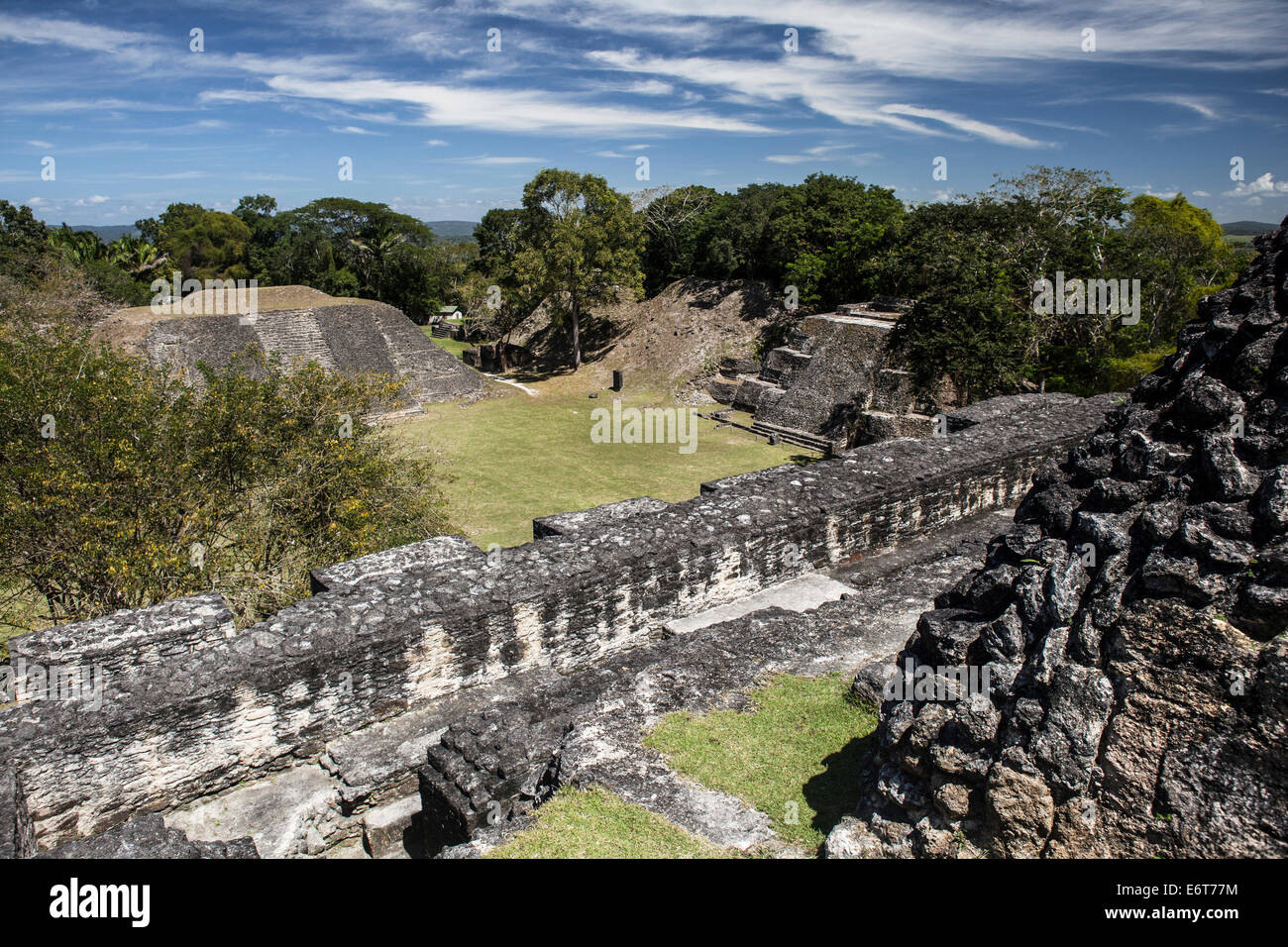 View of El Castillo Pyramid to Maya Ruins of Xunantunich, Caribbean, Belize - Stock Image