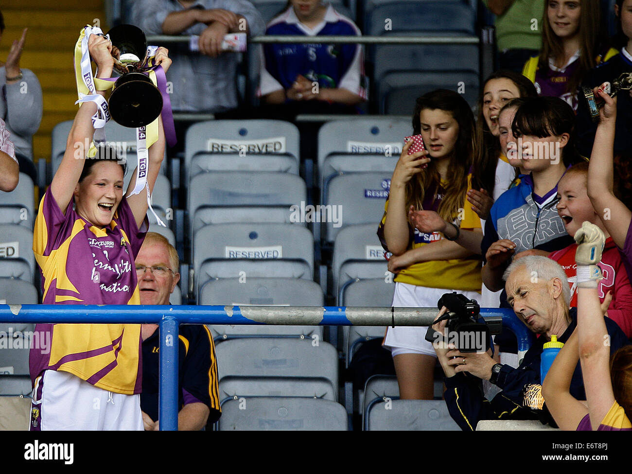 Leinster Ladies Football Junior Football Final Wexford v Louth in Portlaoise 13th July 2014 - Stock Image