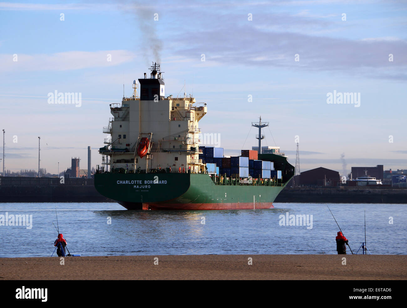 Container Ship River Mersey Liverpool Docks - Stock Image