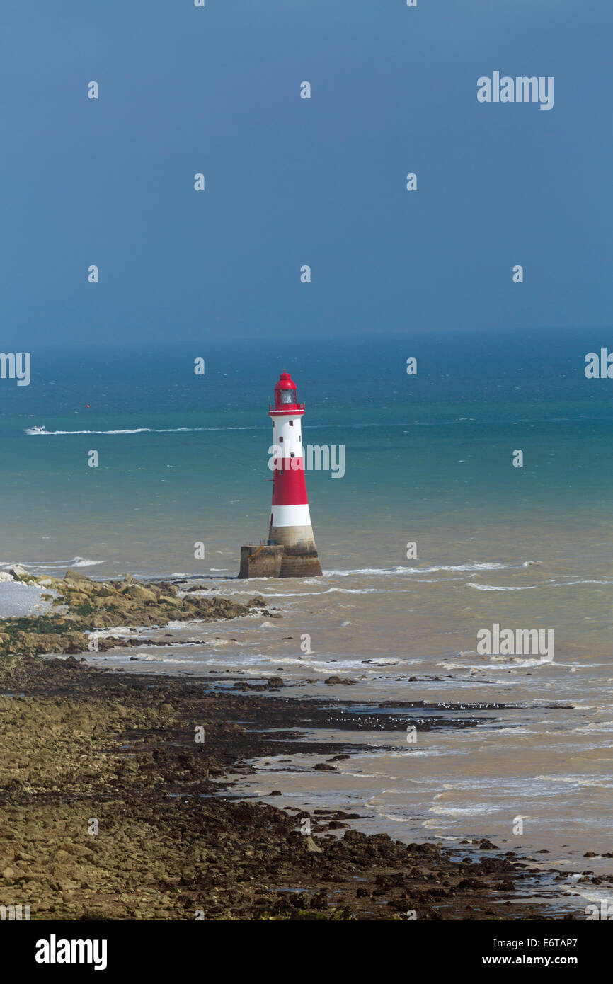 Lighthouse at Beachy Head, Eastbourne, East Sussex - Stock Image