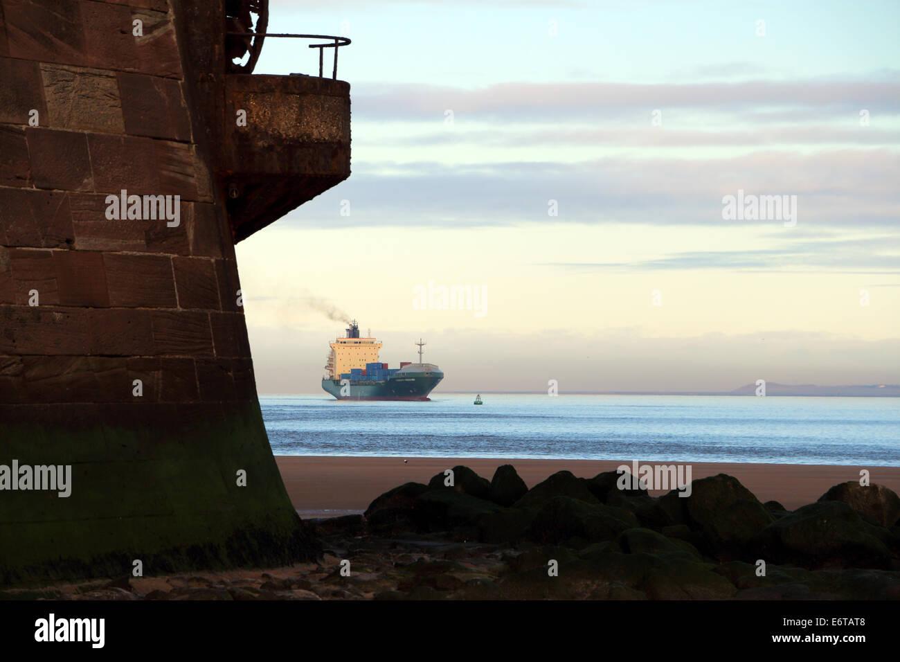 New Brighton River Mersey  Container Ship - Stock Image