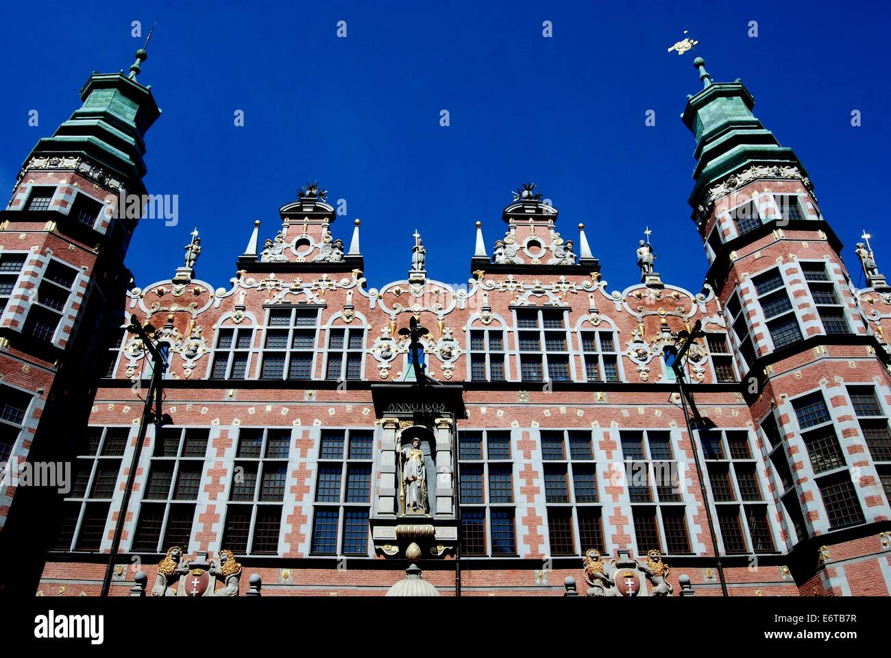 GDANSK, POLAND:  Renaissance gables and towers at the Arsenal, built 1600-1609, a fine example of the Dutch Mannerist - Stock Image