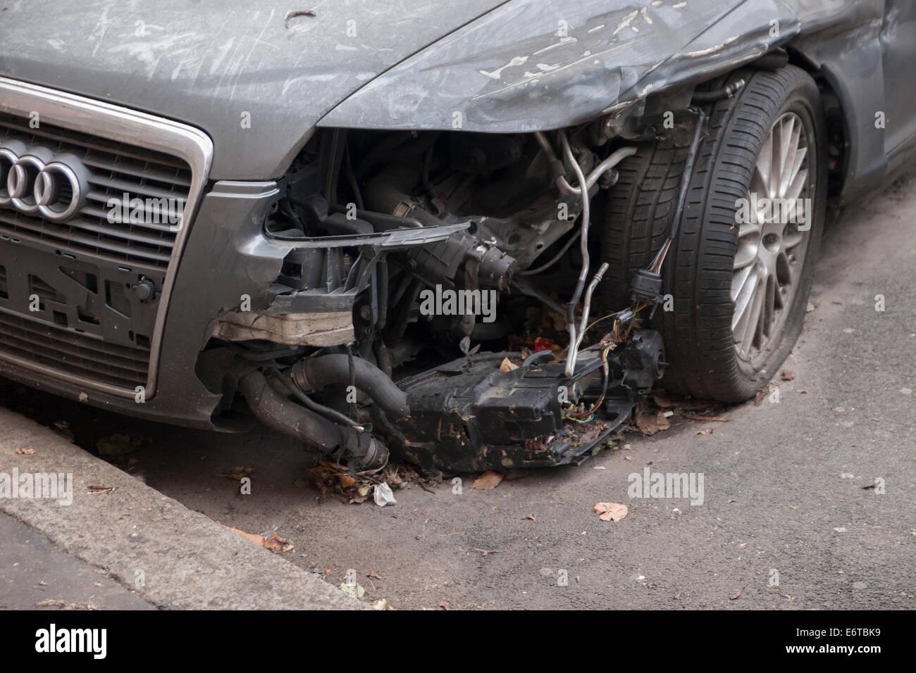 Crashed car. Stock Photo