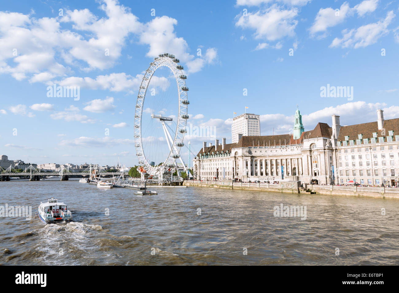 The London Eye and River Thames in London on a summer day - Stock Image