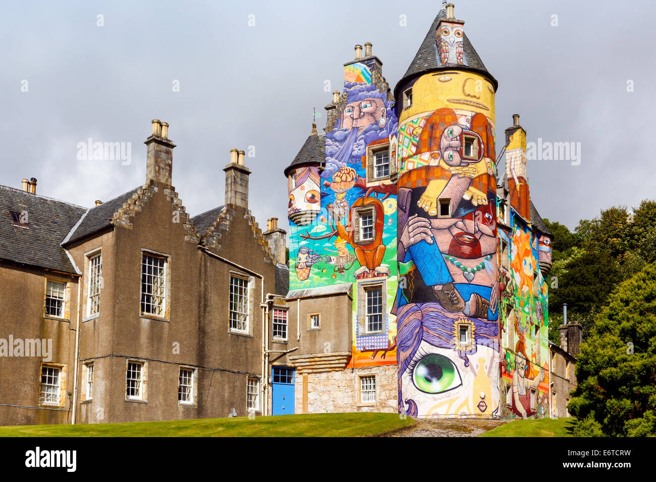 Kelburn Castle near Fairlie, Largs, Ayrshire, Scotland, a 16th century restored historic castle, painted with colourful - Stock Image