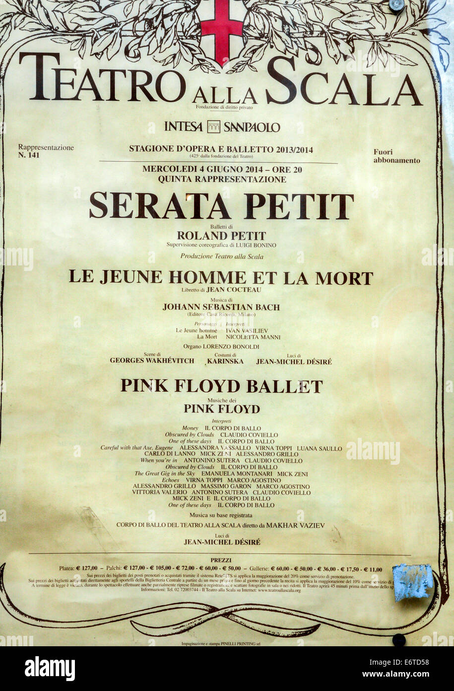 Concert programme for the Teatro all Scala in Milan, Italy - Stock Image