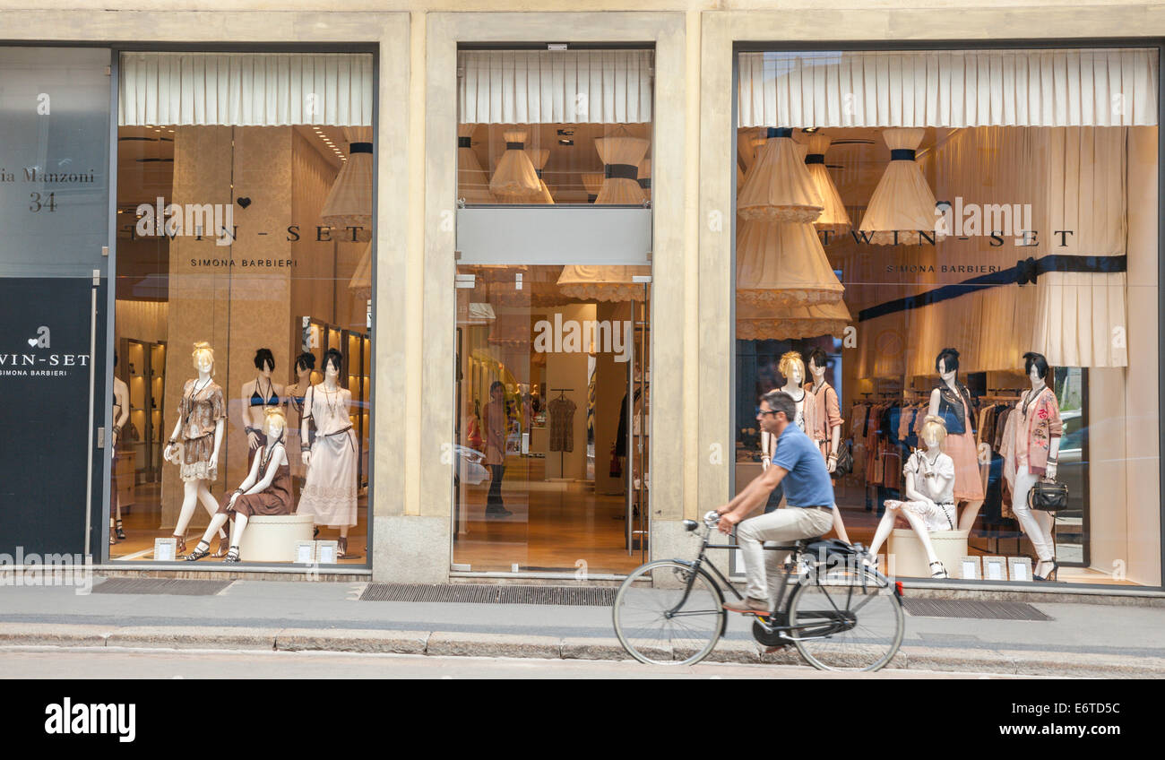 High class shops in Milan's Quadrilatero d'Oro - golden shopping rectangle - Via Monte Napoleone, Milan, Italy - Stock Image