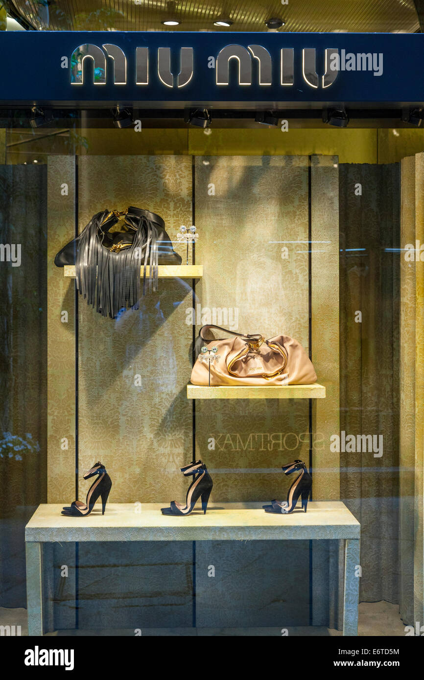 High class Miu Miu shop in Milan's Quadrilatero d'Oro - golden shopping rectangle - Via Monte Napoleone, Milan, - Stock Image