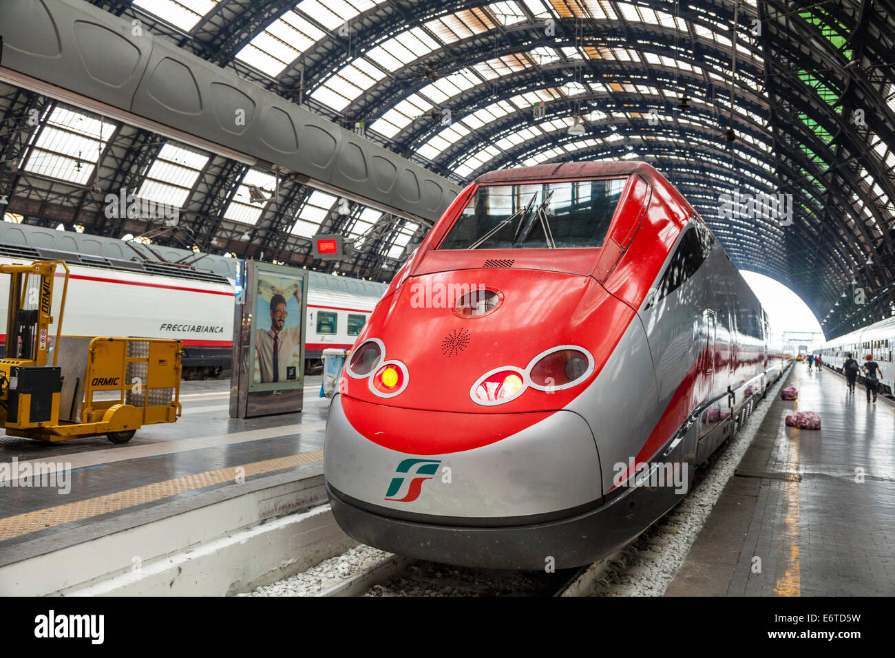 Freccia Rossa high speed train in Milan Central Station - Milan Centrale Stazione - Italy - Stock Image