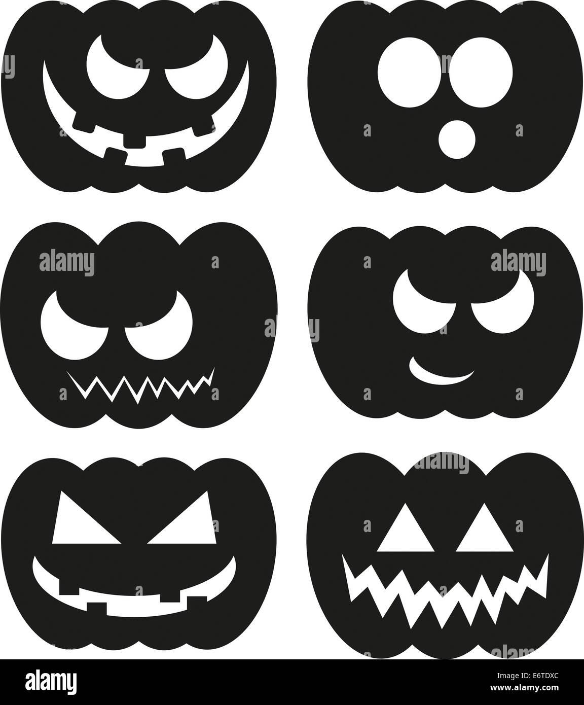 Halloween Kuerbis Kuerbisse Gesichter Ausdruck Gesichtsausdruck Vektor Vector Vektorpaket Set verschiedene Package - Stock Image