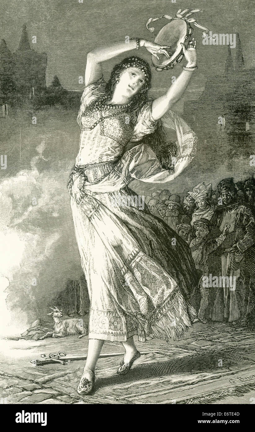 """Esmeralda is a fictional character in the French writer' Victor Hugo's 1831 novel """"The Hunchback of Notre Dame."""" Stock Photo"""