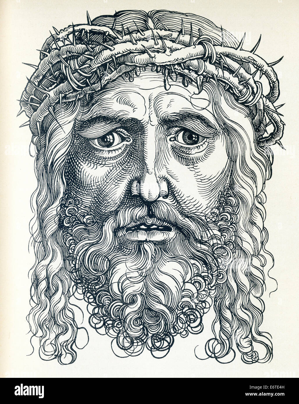 This head of Jesus Christ was done by Albrecht Durer, a German painter and engraver, who lived from 1471 to 1528. - Stock Image