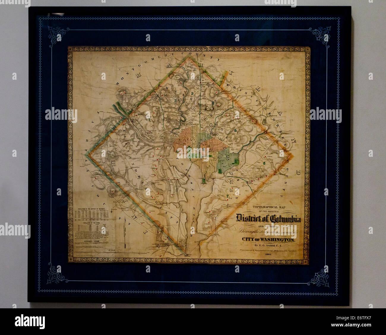 Topographic Map Washington Dc.Original Washington Dc Topographical Map By E G Arnold 1862 Stock