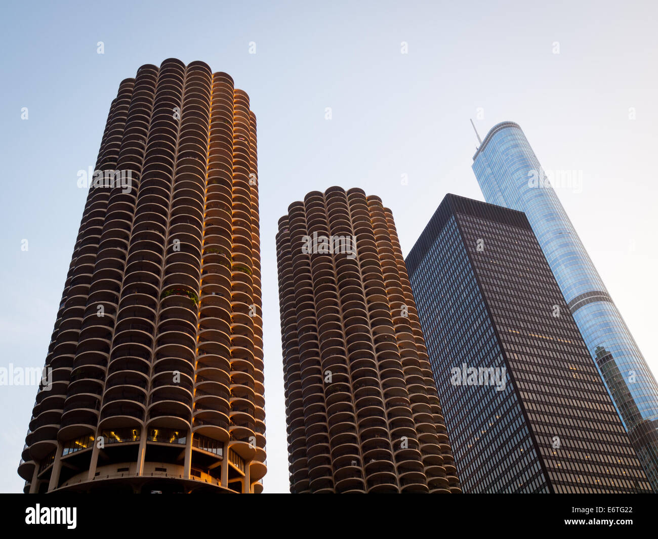 A view of Marina City, the IBM Building (AMA Plaza), and the Trump International Hotel and Tower Chicago. - Stock Image