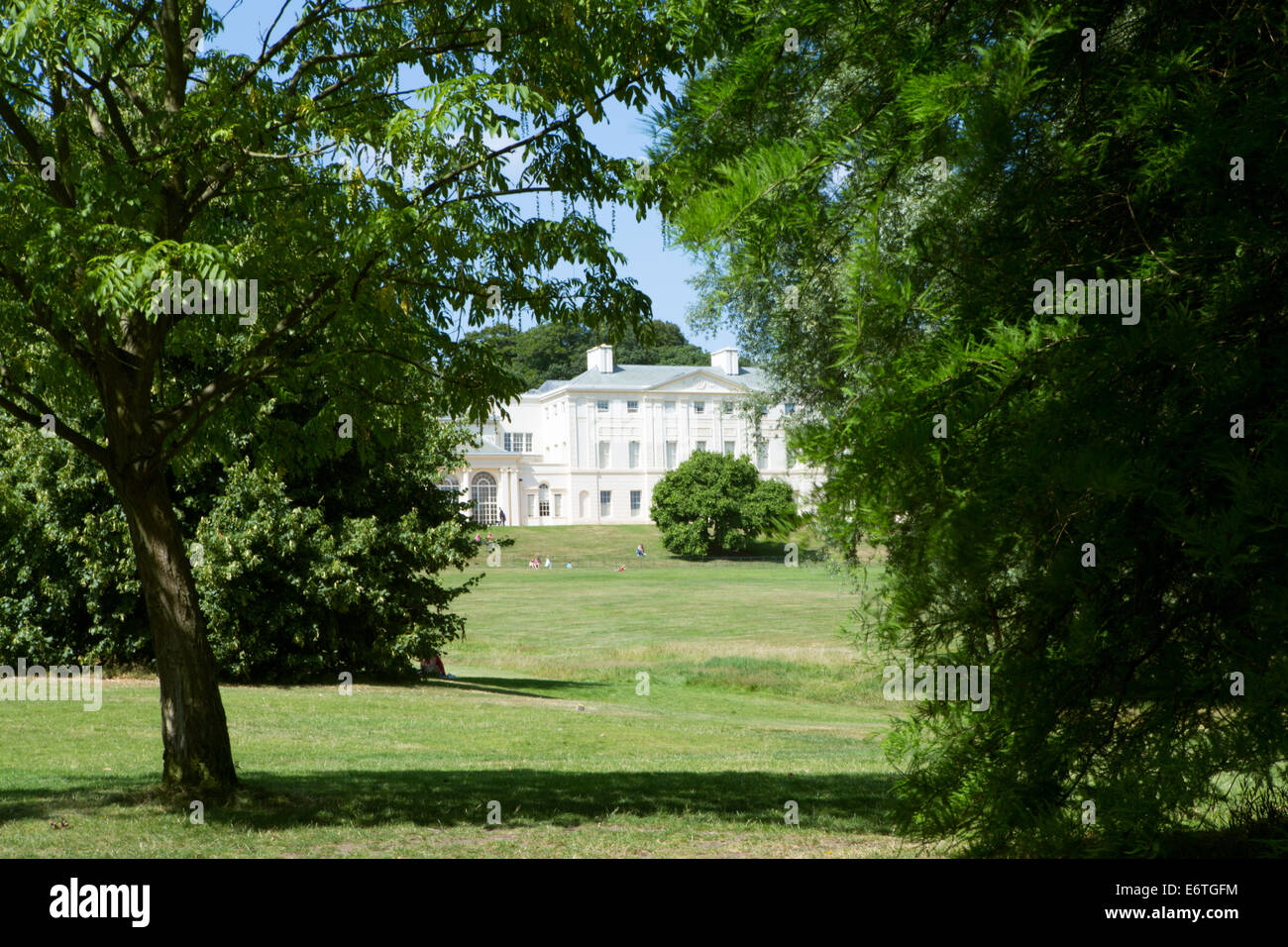 The south front of Kenwood by Robert and James Adam, on Hampstead Heath, a park in north London - Stock Image