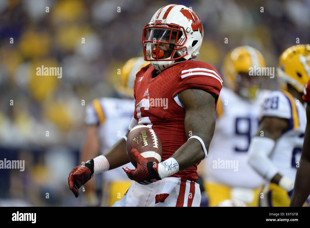Houston, Texas, USA. 30th Aug, 2014. Wisconsin Badgers running back Corey Clement (6) celebrates a touchdown during - Stock Image