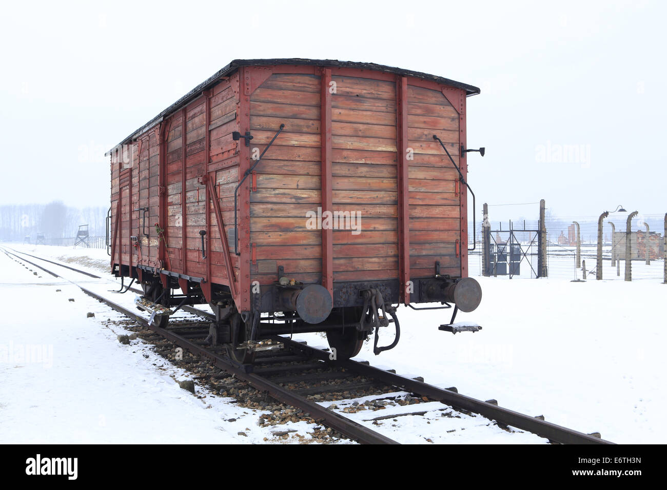 Auschwitz-Birkenau concentration and extermination camp in Winter Stock Photo