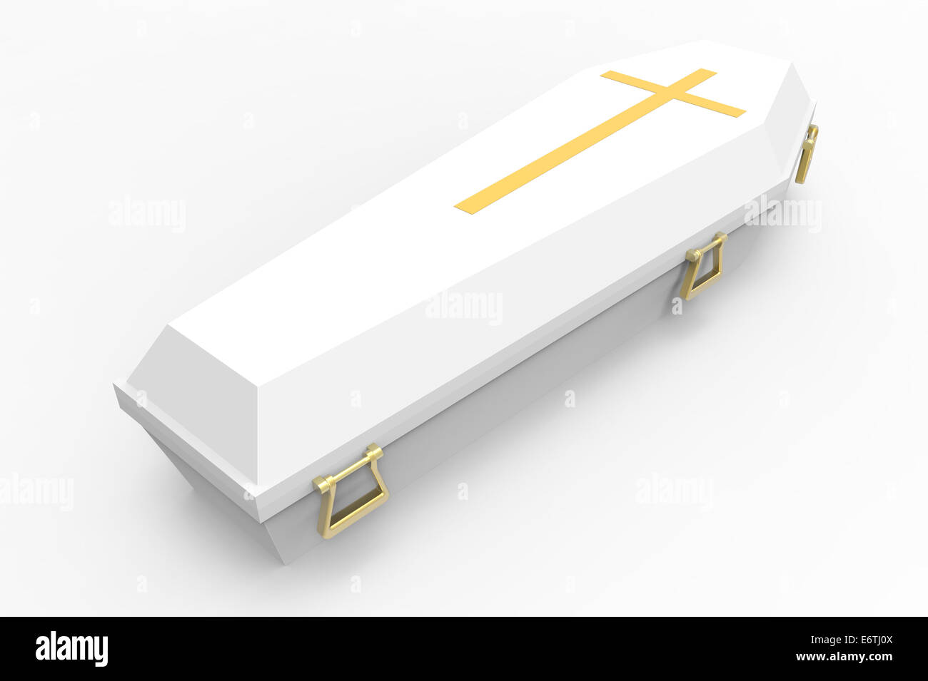 White coffin, with shadows, 3d render - Stock Image