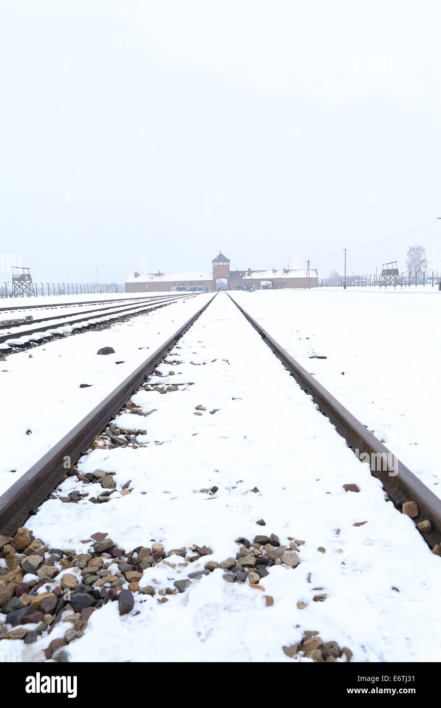 Auschwitz-Birkenau concentration camp in Winter - Stock Image