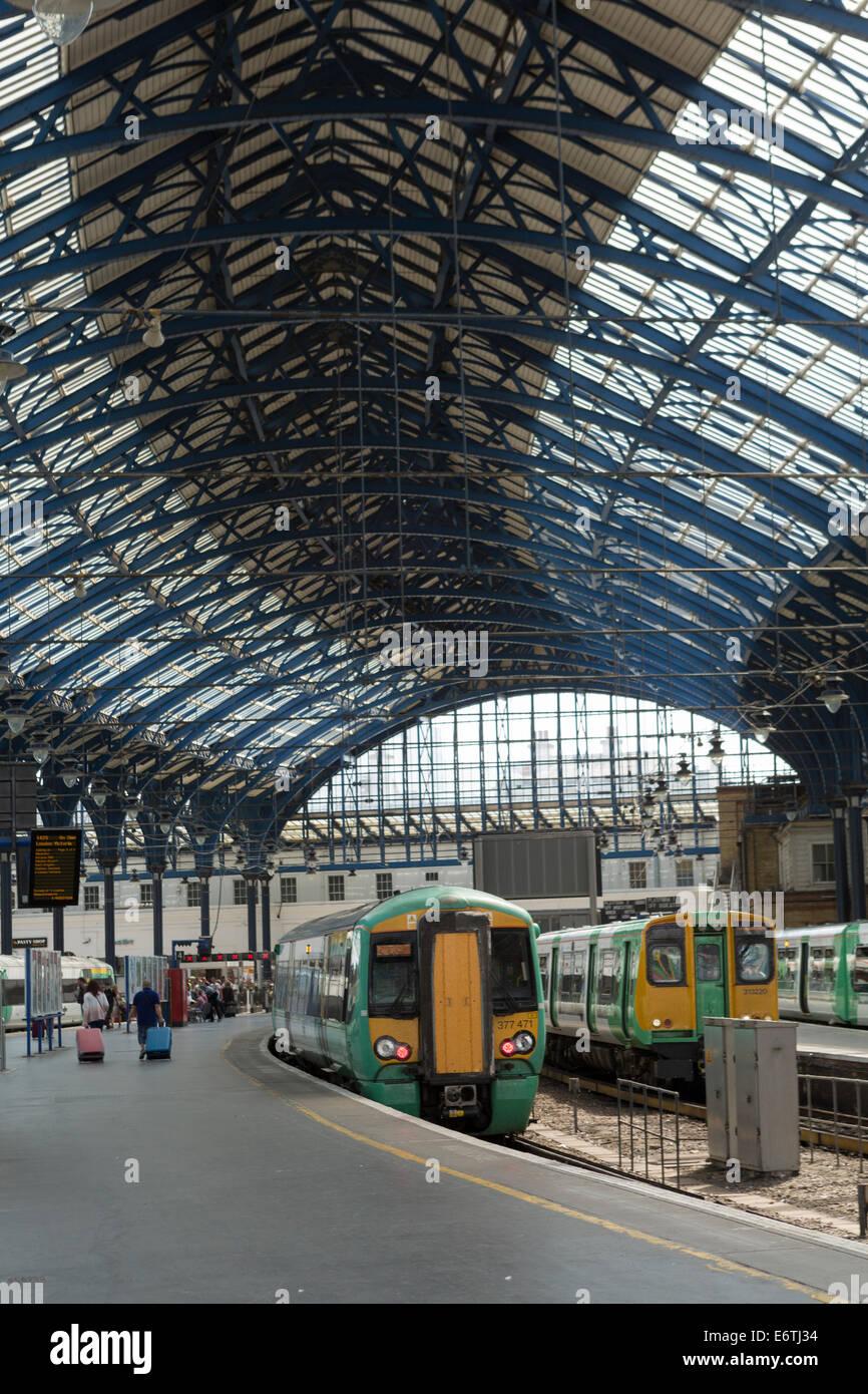 The interior of Brighton railway station designed by David Mocatta - Stock Image