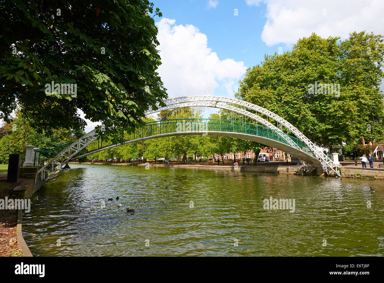 Iron Pedestrian Suspension Bridge Over The River Great Ouse Dated 1888 By John Webster The Embankment Bedford Bedfordshire - Stock Image