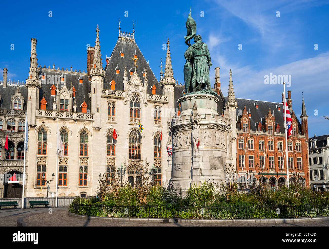 Provinciaal Hof built in 1284 neogothical building on the Grote Markt place in Bruges, Belgium. Stock Photo