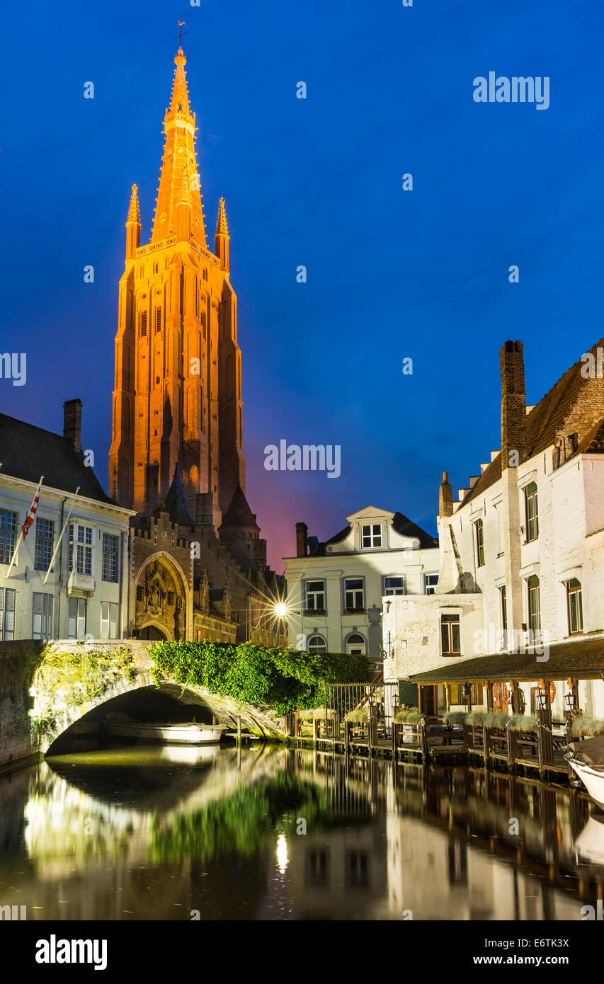 Bruges, Belgium. Church of Our Lady, Vrouwekerk, built after 1220, tallest in city with 122 m. West Flanders - Stock Image