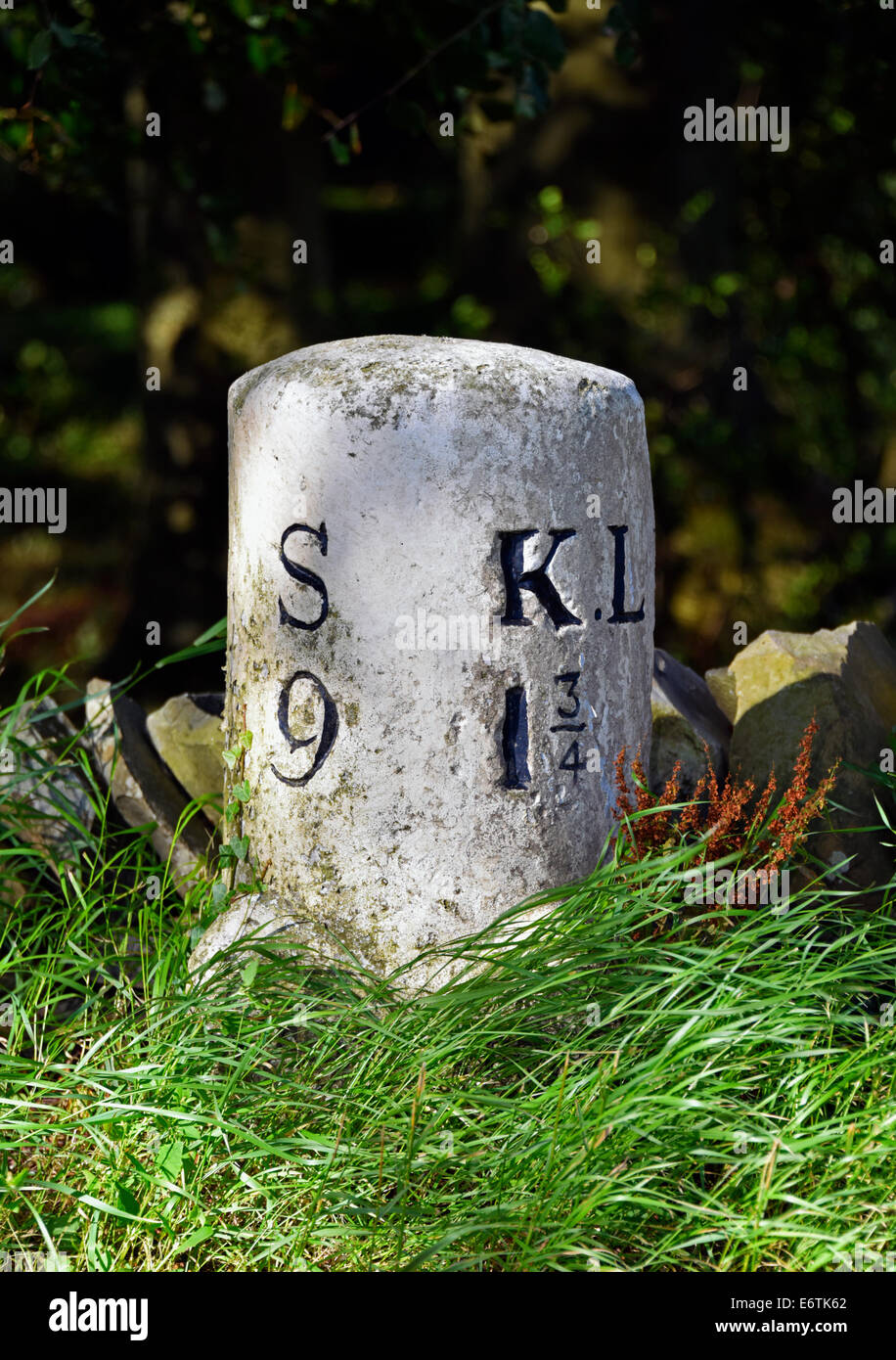 Milestone at Casterton between Sedbergh and Kirkby Lonsdale. Cumbria, England, United Kingdom, Europe. - Stock Image