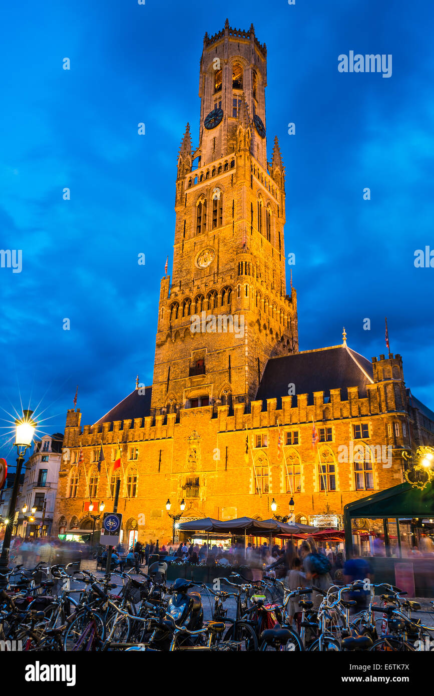 Belgium. Markt is dominated by the Belfry or Belfort octagonal belltower with 83 m built in 13th century. Bruges, Stock Photo