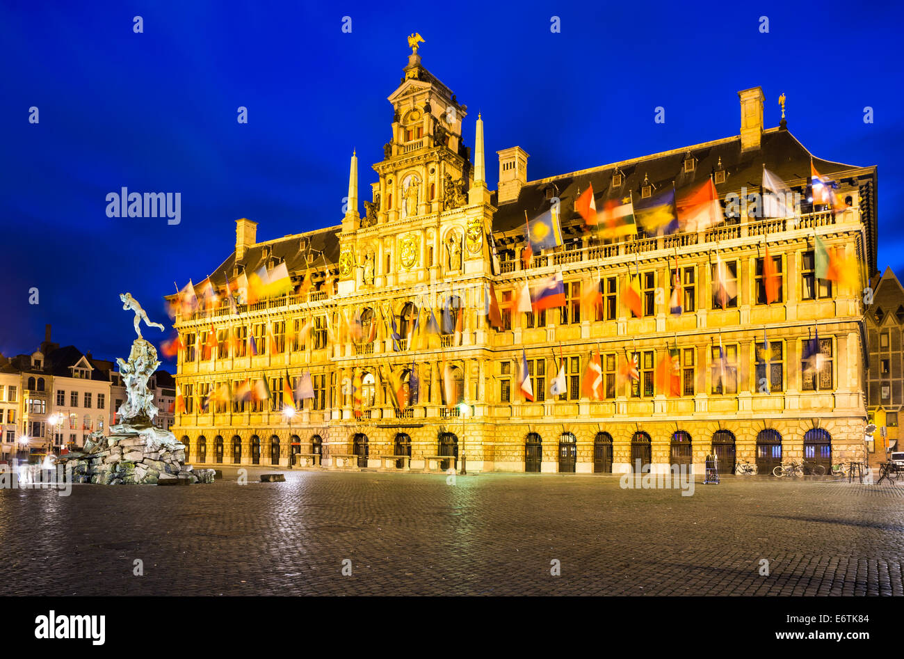 Grote Markt, Antwerp in Belgium spectacular central square and elegant 16th-century Stadhuis (town hall) dressed Stock Photo