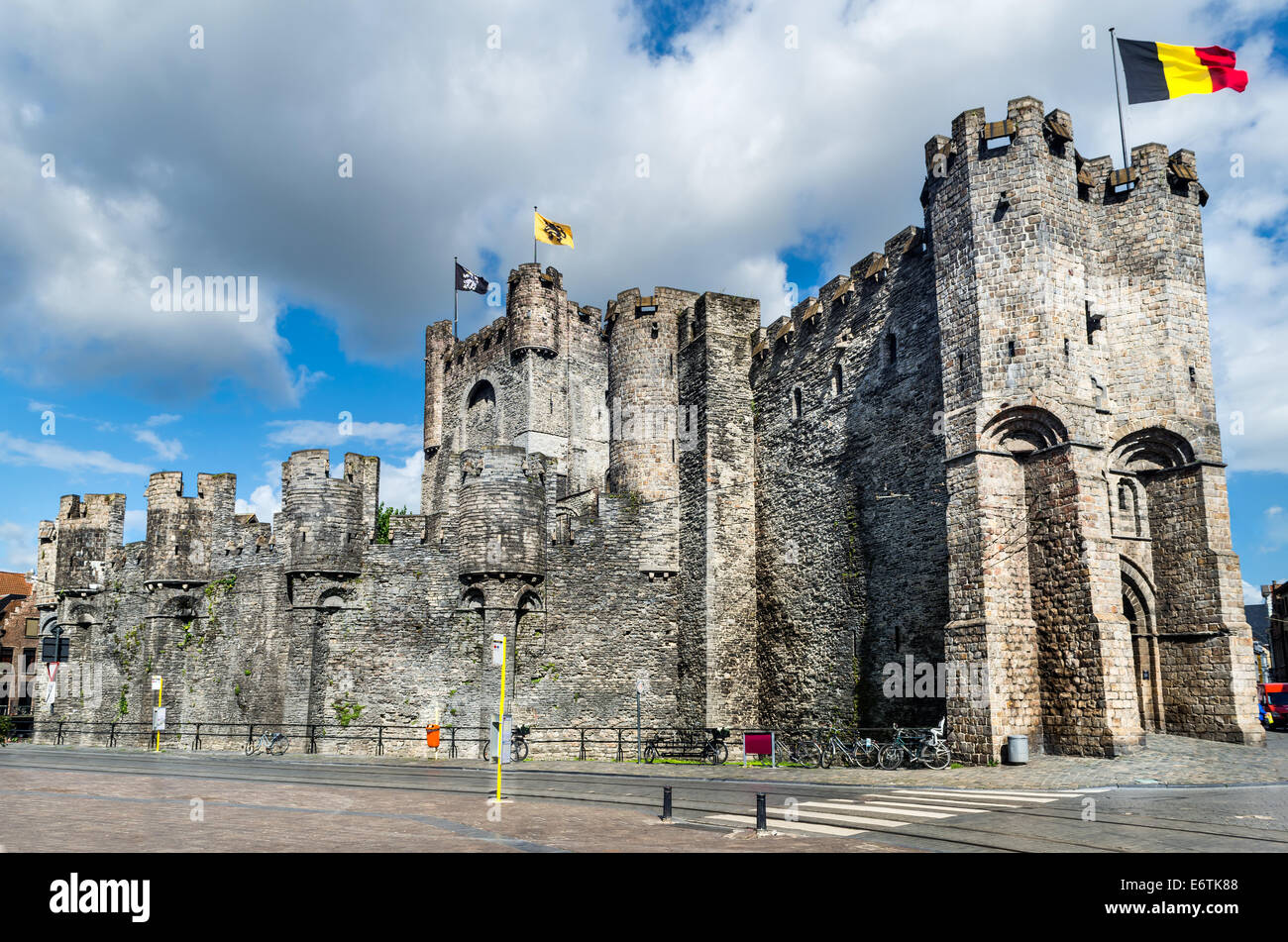 Gravensteen is a castle in Gent, Ghent built in 1180 Middle Ages, bought in 1185 by city - Stock Image