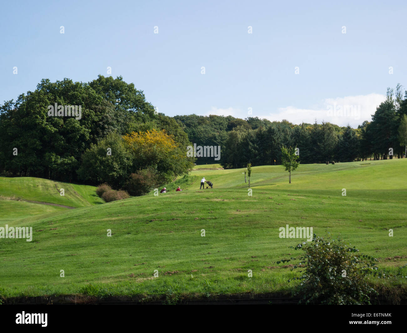 Golfers on the popular golf course Haigh Hall Country Park Wigan Greater Manchester - Stock Image