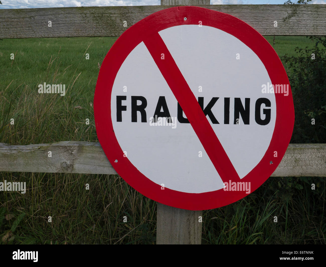 No Fracking sign put up by villagers against process Lancashire England UK - Stock Image
