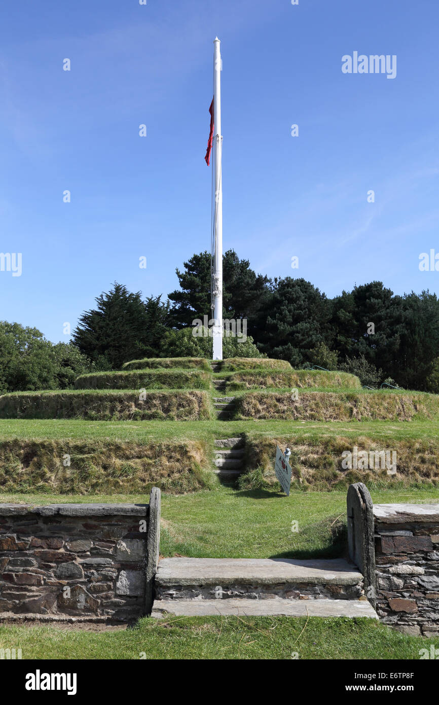 the manx government meets at tynwald hill or parliament field once per year. - Stock Image