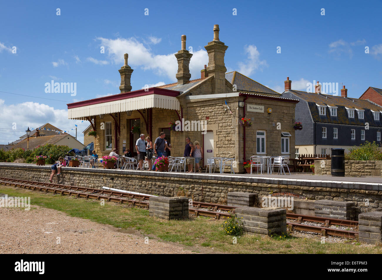 The Station Cafe in the converted old railway station at West Bay, Bridport, Dorset - Stock Image
