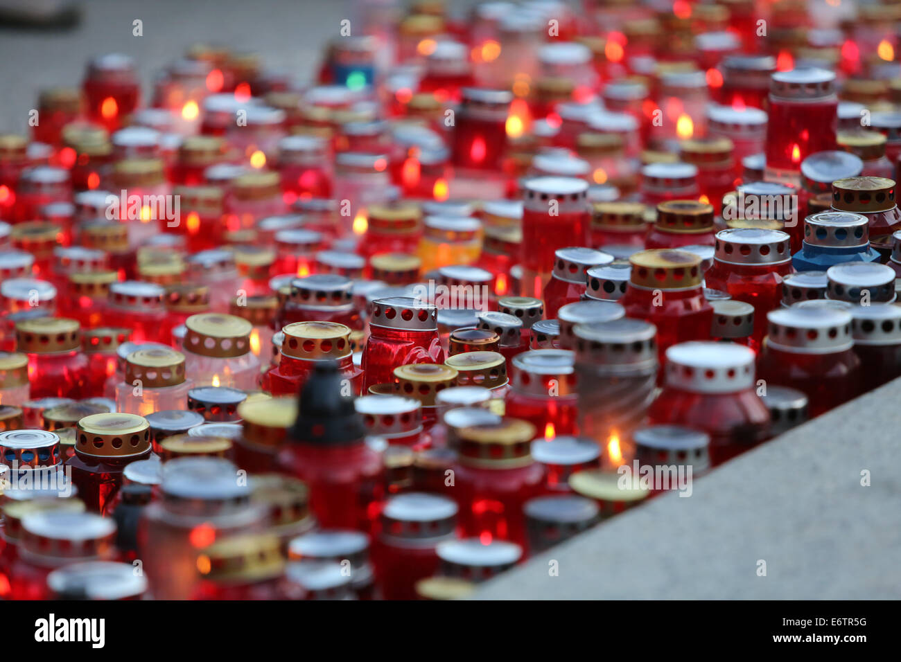Zagreb cemetery Mirogoj on All Saints Day visited by thousands of people light candles for their deceased family - Stock Image