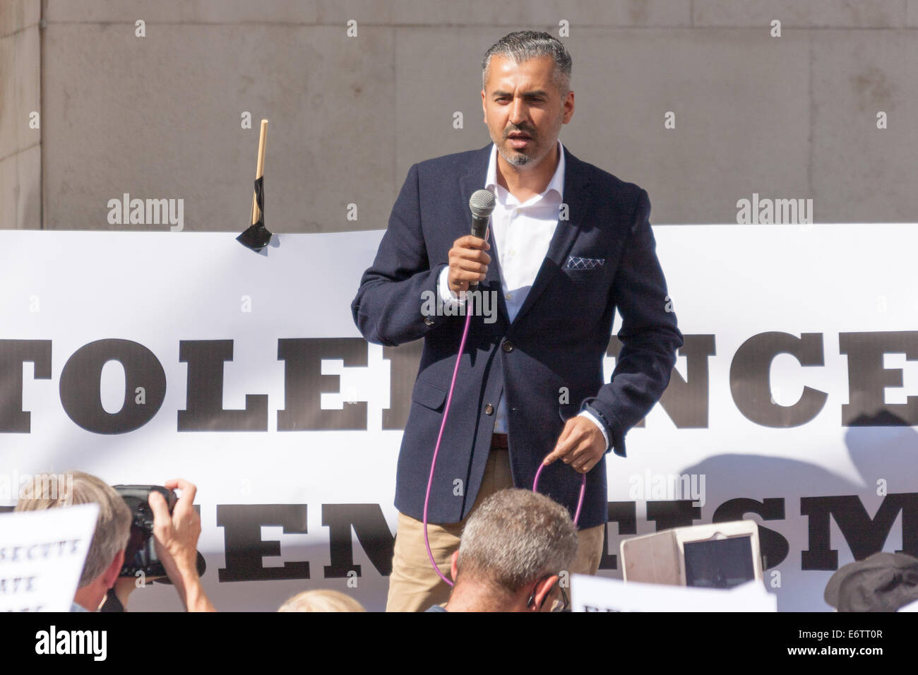 London, UK. 31st Aug, 2014. Quilliam Foundation leader Maajid Nawaz speaks out against religious intolerance as - Stock Image