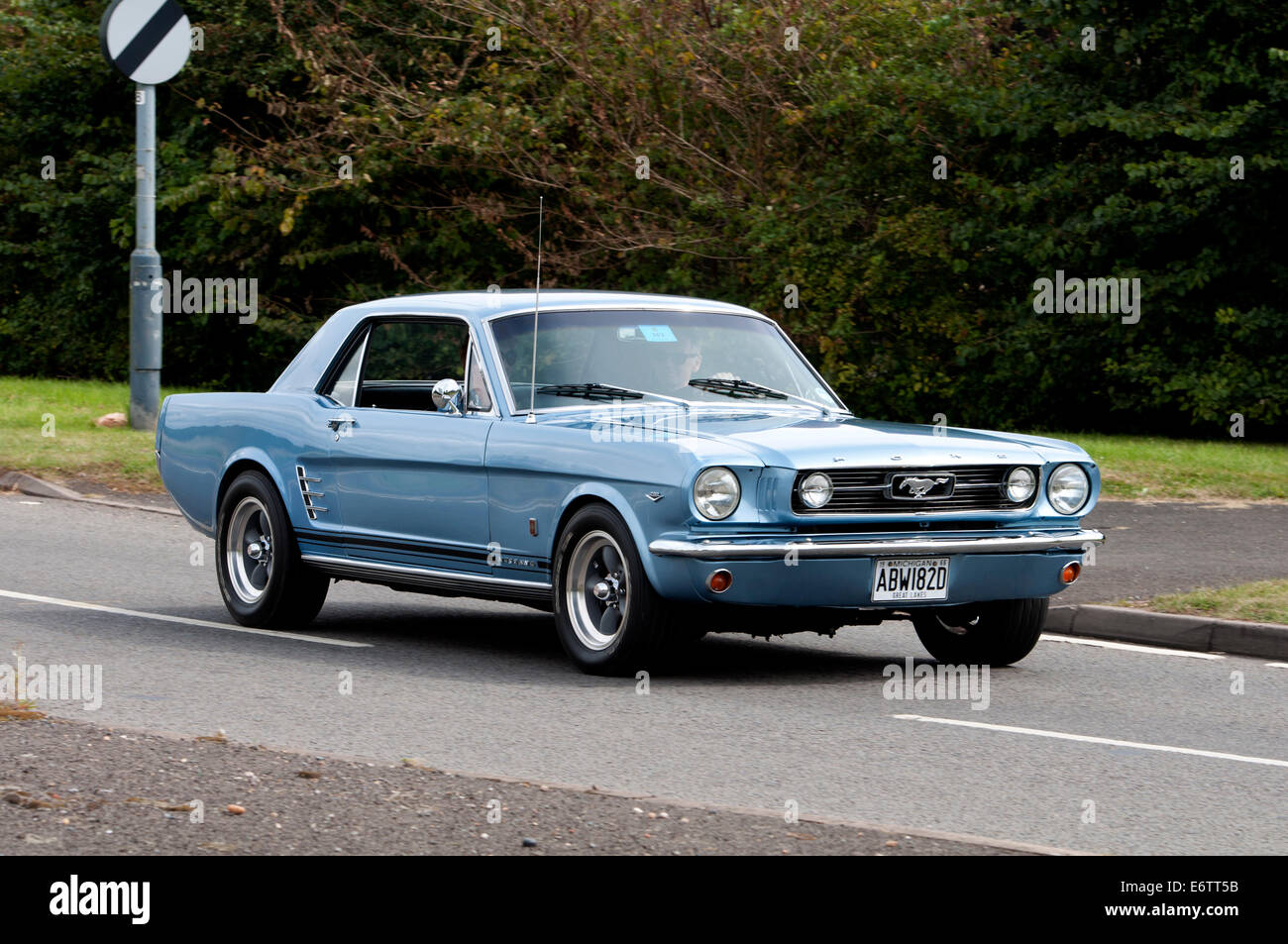 1966 ford mustang car on the fosse way road warwickshire uk stock image