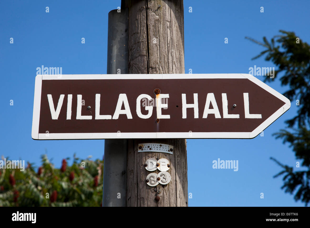 A village hall sign in the U.K. - Stock Image