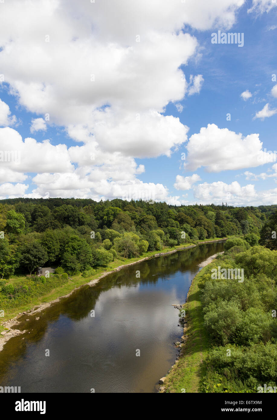 The River Tweed pictured from the A68 at Leaderfoot - Stock Image