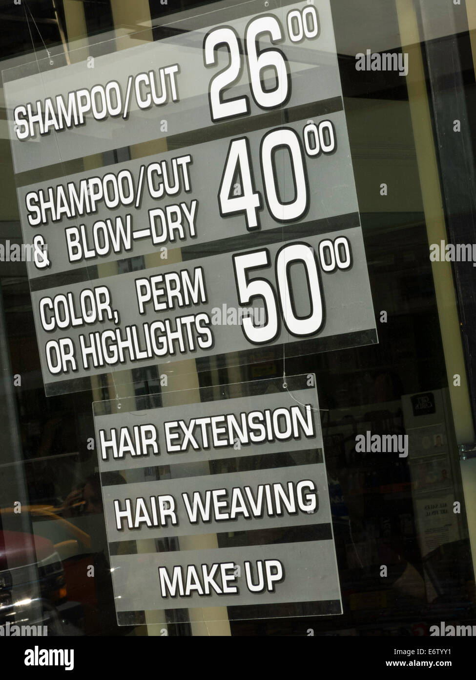 Posted Prices For Services Hair Salon Nyc Usa Stock Photo