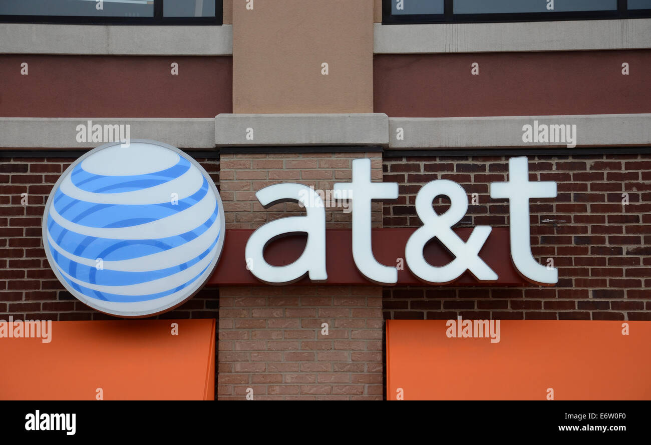 ANN ARBOR, MI - AUGUST 24: AT&T, whose Ann Arbor store logo is shown on August 24, 2014, AT&T bought Direct - Stock Image