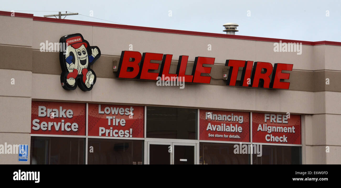 ANN ARBOR, MI - AUGUST 24: Belle Tire, whose east Ann Arbor store is shown on August 24, 2014, has 85 locations. Stock Photo
