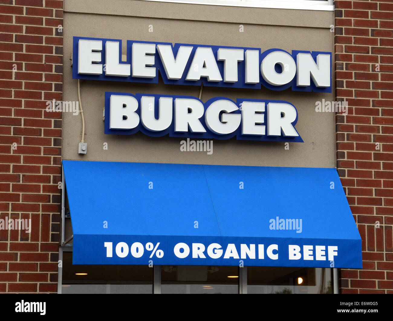 ANN ARBOR, MI - AUGUST 24: Elevation Burger east Ann Arbor store front is shown on August 24, 2014. - Stock Image