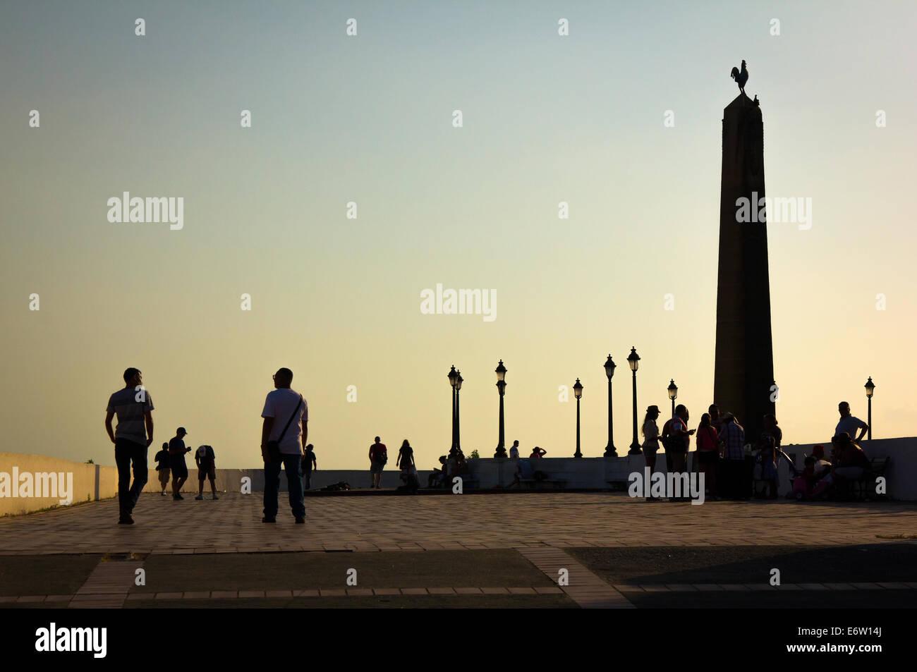 Sunset at the Plaza de Francia, Panama City, Casco Antiguo. - Stock Image