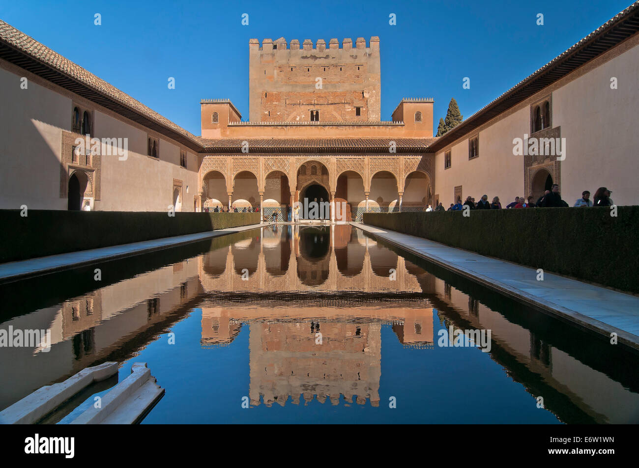 Court of the Myrtles and Comares Tower, The Alhambra, Granada, Region of Andalusia, Spain, Europe - Stock Image