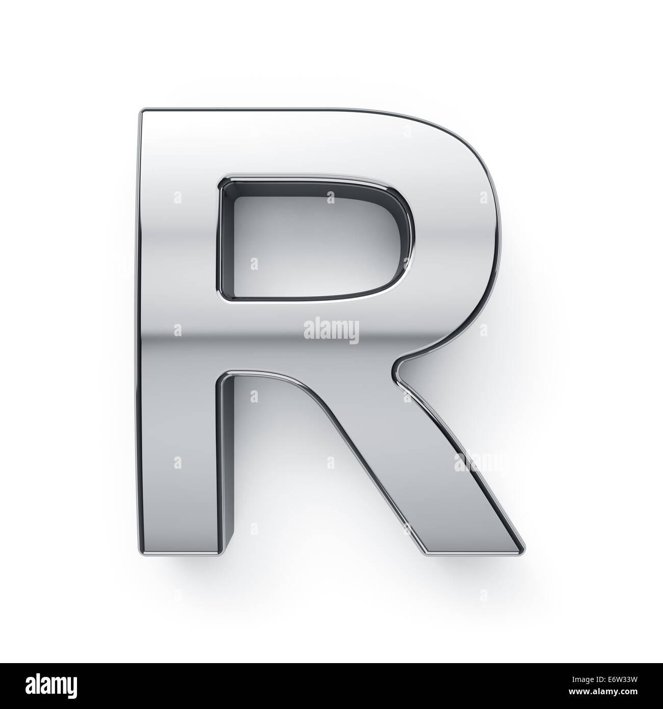 3d Render Of Metallic Alphabet Letter Symbol R Isolated On White