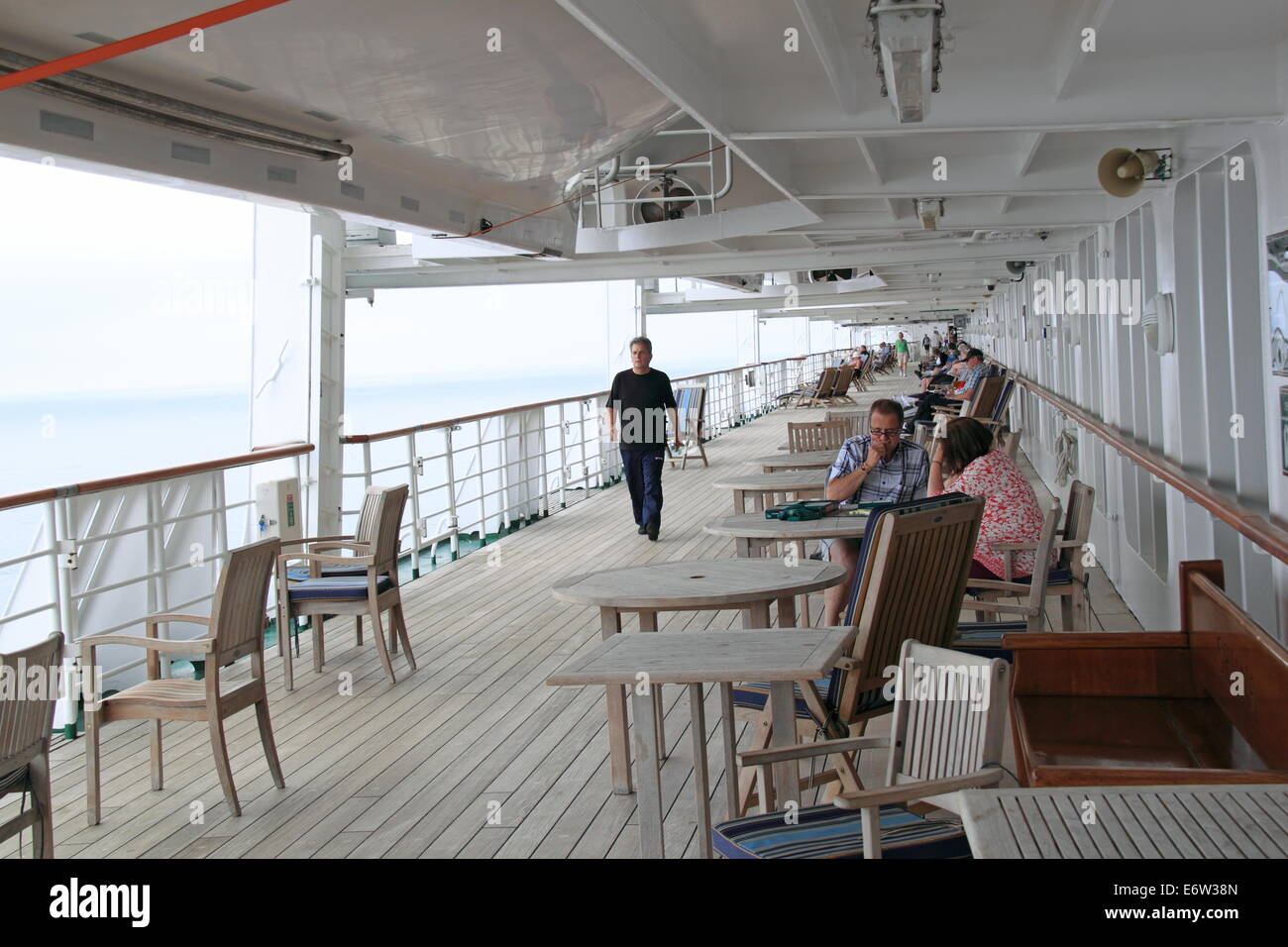 Promenade Deck, P&O Cruises Oriana, Norway 2014 - Stock Image